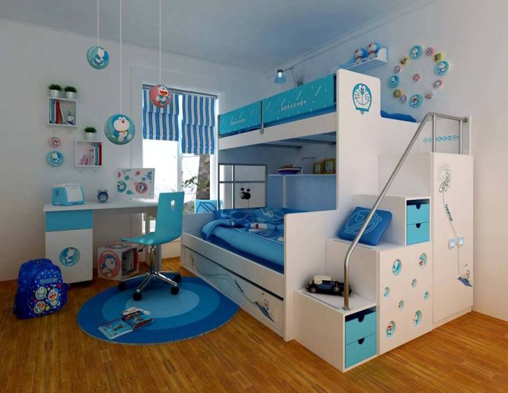 Light Blue Themed Small Space Bedrooms Furniture with Bunk Beds