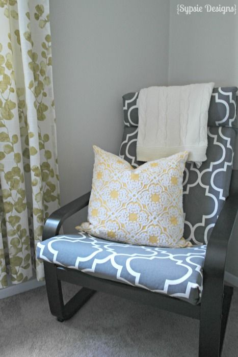 DIY ikea poang chair with patterned fabric cover