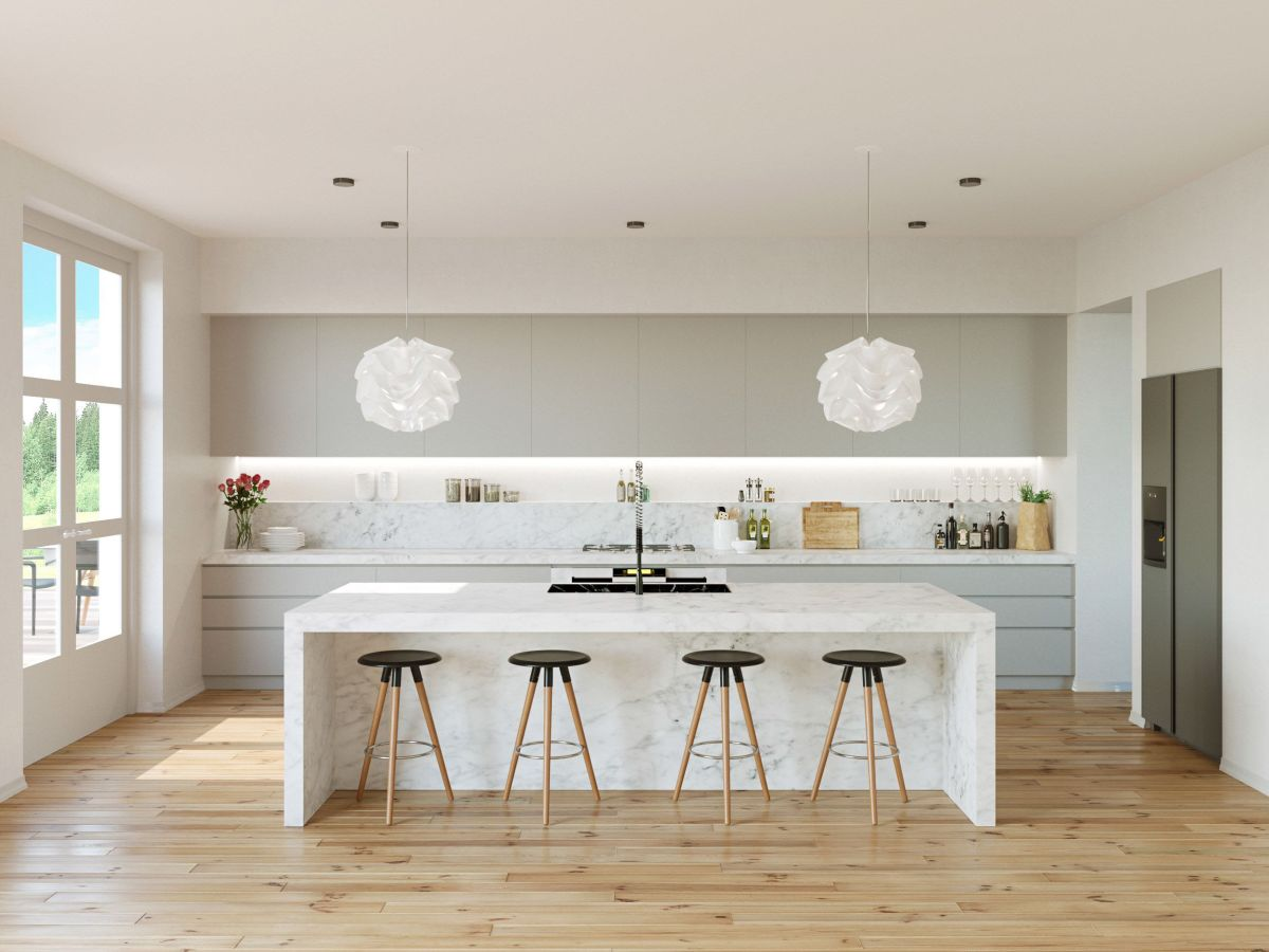grey and white kitchen Grey and Marble Kitchen Light Maple Floors 01