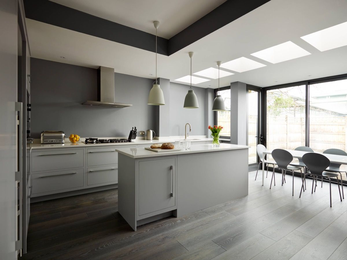 grey and white kitchen Kitchen Grey Walls Cabinets and Floors White Countertops 24