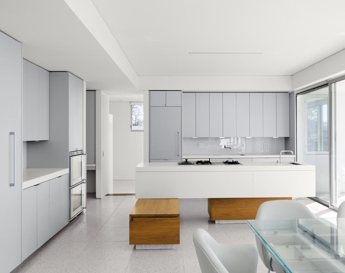 grey and white kitchen Light Grey and White Contemporary Kitchen Pine Wood Base Island 11