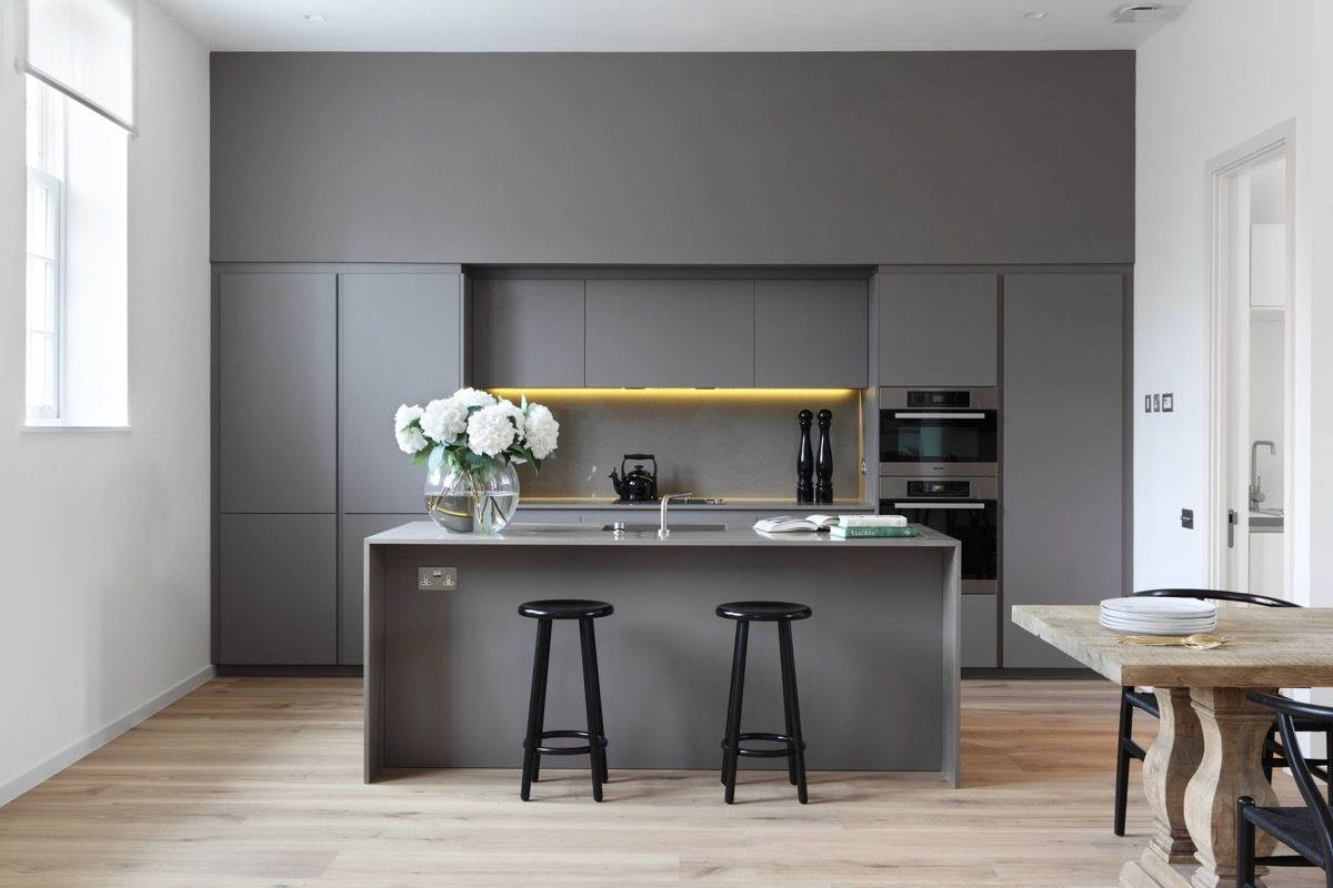 grey and white kitchen Simple Medium Grey Cabinets Light Pine Floors 18