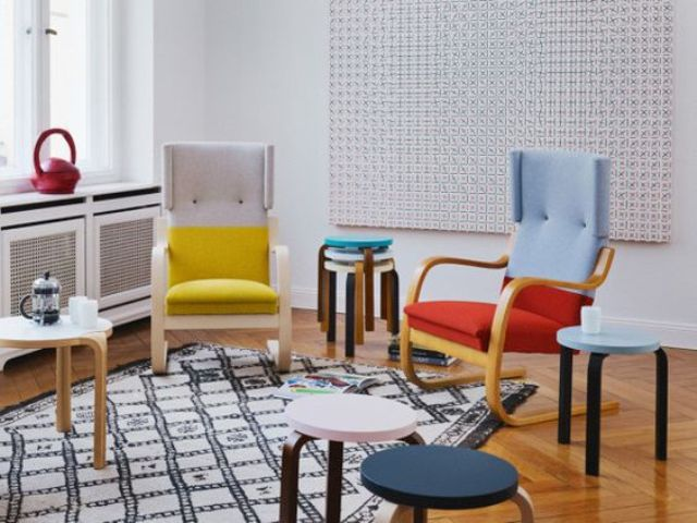 color blocked ikea poang chair